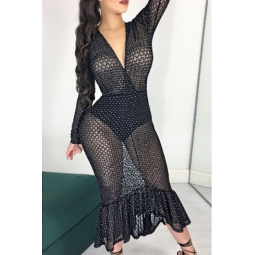 Sexy Deep V Neck See-Through Black Gauze Fishtail Mid Calf Dress(With Briefs)