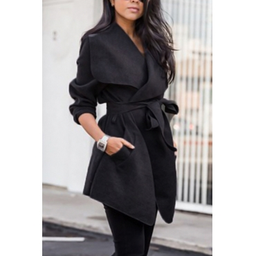 Trendy Turndown Collar Long Sleeves Lace-up Black Polyester Coat