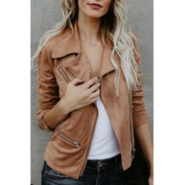 Lovely Euramerican Turndown Collar Zipper Design Khaki Suede Jacket