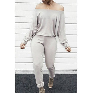 Lovely Casual Dew Shoulder Blending Grey One-piece