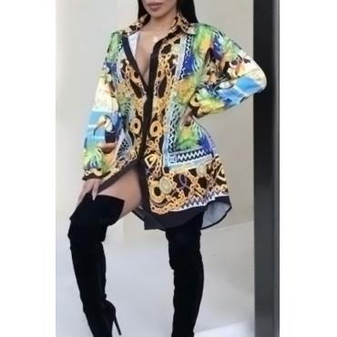 Euramerican Turndown Collar Printed Polyester Knee Length Dress