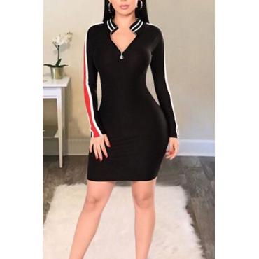 Leisure Round Neck Patchwork Black Cotton Blend Sheath Mini Dress