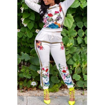 Casual Round Neck Printed White Polyester Two-piece Pants Set