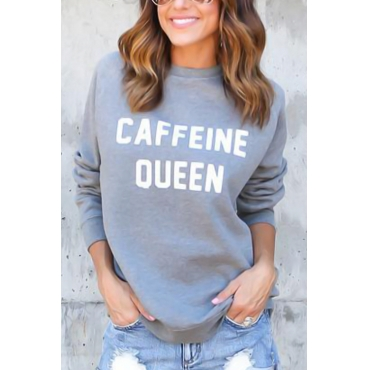 Lovely Casual Round Neck Letters Printed Grey Blending Hoodies