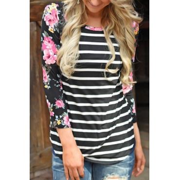 Lovely Euramerican Round Neck Striped Patchwork Black Polyester T-shirt