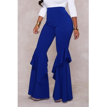 Euramerican Mid Waist Falbala Design Blue Polyester Wide Leg Pants