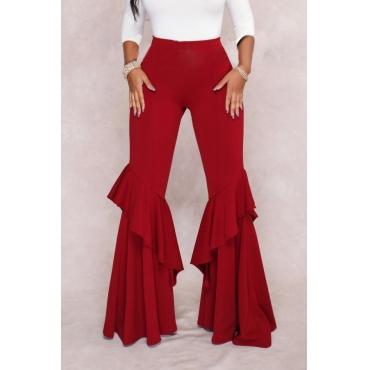 Euramerican Mid Waist Falbala Design Red Polyester Wide Leg Pants