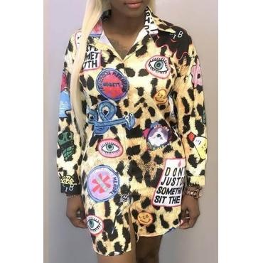 Euramerican Turndown Collar Panther Print Polyester Mini Dress