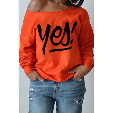 Sexy Dew Shoulder Letters Printing Purplish Orange Polyester Hoodies