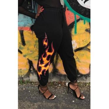 Euramerican High Waist Offset Printing Design Black Twilled Satin Pants