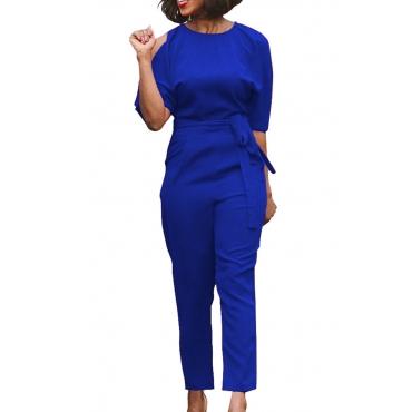 Euramerican Round Neck Dew Shoulder Blue Polyester One-piece Jumpsuits