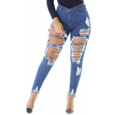 Trendy Mid Waist Broken Holes Blue Denim Pants