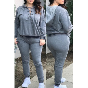 Casual Hooded Collar Lace-up Hollow-out Grey Polyester Two-piece Pants Set