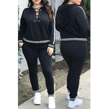 Casual Hooded Collar Lace-up Hollow-out Black Polyester Two-piece Pants Set