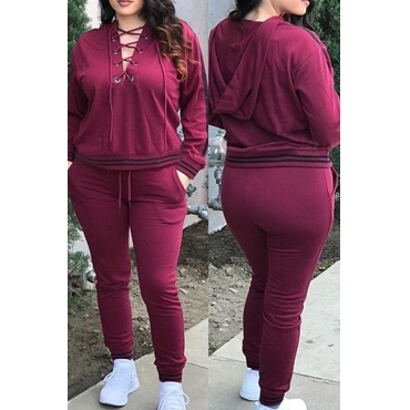 Casual Hooded Collar Lace-up Hollow-out Rose Red Polyester Two-piece Pants Set