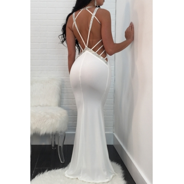Sexy V Neck Lace-up Hollow-out White Polyester Floor length Dress