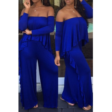 Casual Strapless Fold Design Blue Polyester One-piece Jumpsuits