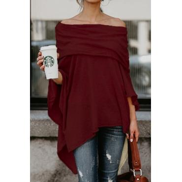 Lovely Sexy Dew Shoulder Asymmetrical Wine Red  Blending T-shirt