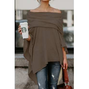 Lovely Sexy Dew Shoulder Asymmetrical Coffee  Blending T-shirt