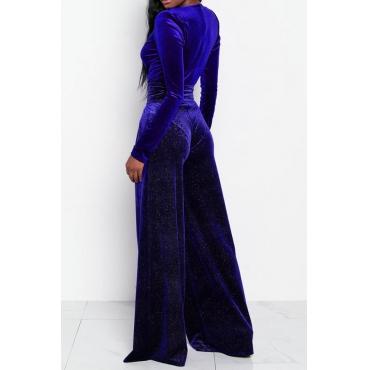 Sexy Deep V Neck Royalblue Velvet One-piece Jumpsuits