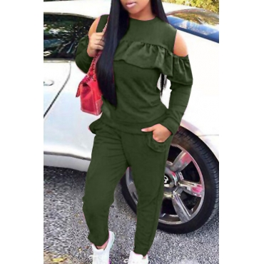 Casual Round Neck Dew Shoulder Ruffle Design Army Green Blending Two-piece Pants Set
