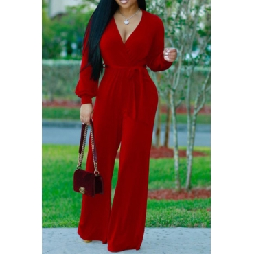 Euramerican V Neck Long Sleeves Red Polyester One-piece Jumpsuits(Without Belt)