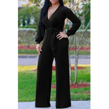 Euramerican V Neck Long Sleeves Black Polyester One-piece Jumpsuits(Without Belt)