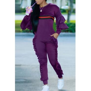 Leisure Round Neck Ruffles Patchwork Purple Polyester One-piece Jumpsuits