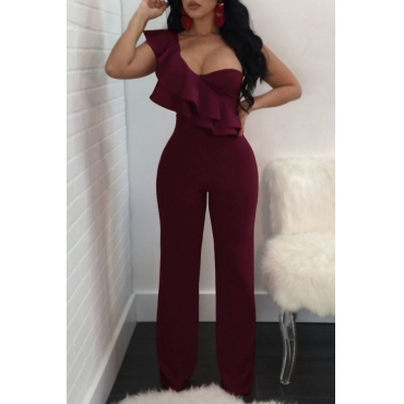 Fashionable Show A Shoulder Ruffles Design Purplish Red Polyester One-piece Jumpsuits