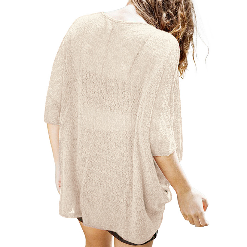 Leisure V Neck Cross Fold Design Apricot Polyester Shirts