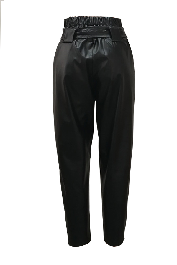 Euramerican Elastic High Waist Black Leather Pants
