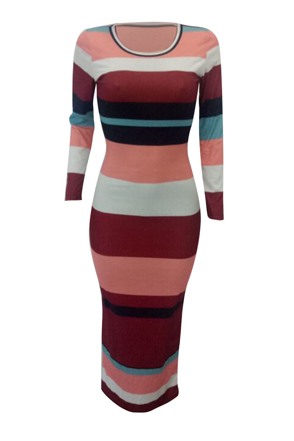 Sexy Round Neck Striped Patchwork Wine Red Polyester Ankle Length Dress