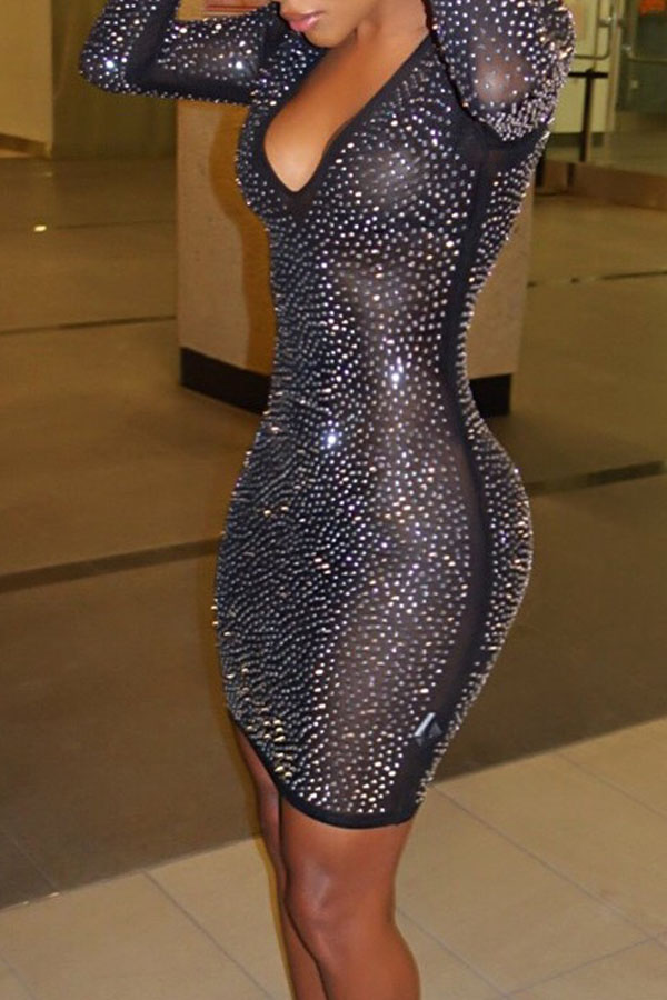 Euramerican U Neck See-Through Sequined Decorativo Black Gauze Mini Dress