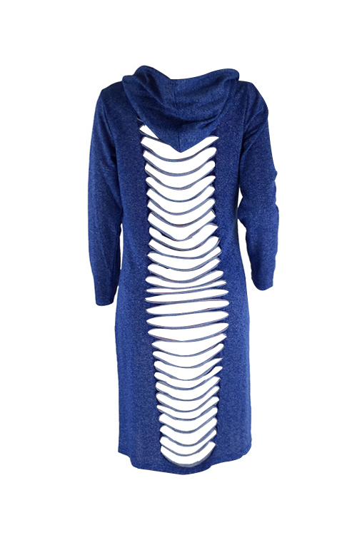 Casual Hooded Collar Hollow-out Blue Polyester Coat