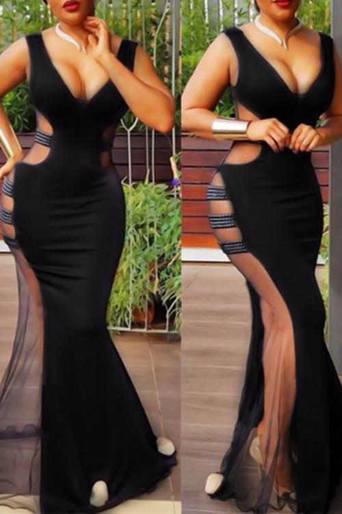 Vestido De Noche De Poliéster Negro Con Cuello En V Sexy