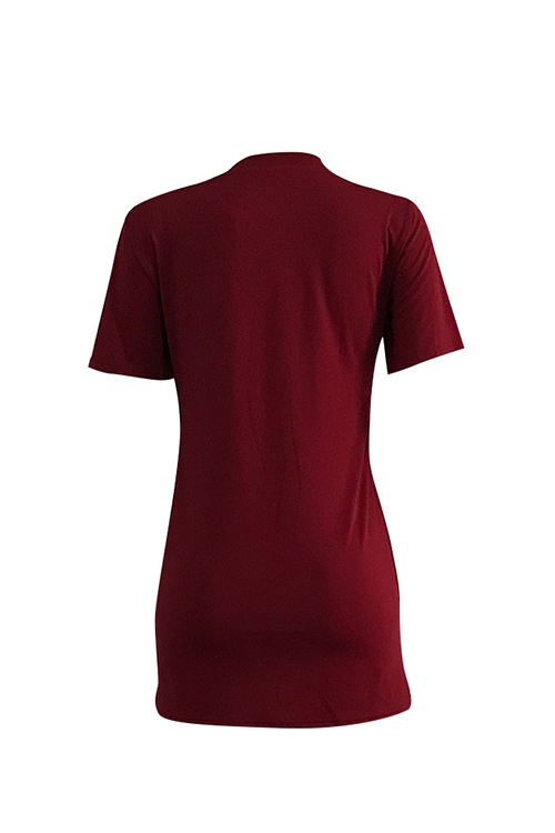 Lovely Casual Round Neck Letters Printed Wine Red Polyester Mini Dress