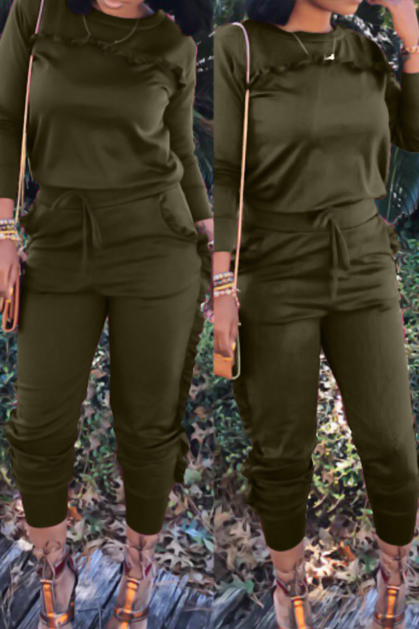 Casual Round Neck Ruffle Design Army Green Blending Two-piece Pants Set<br>