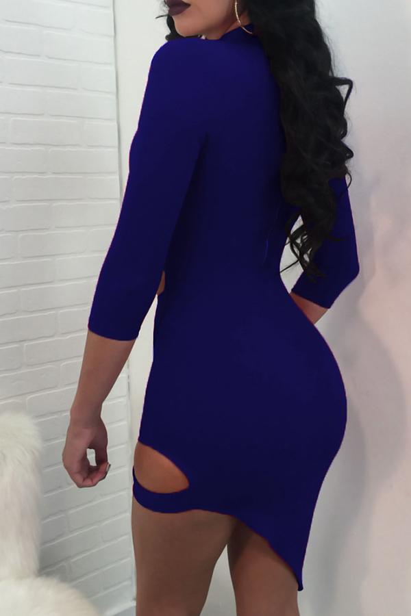 Sexy Turtleneck Hollow-out Royalblue Polyester Mini Dress