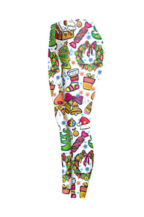 Euramerican Mid Waist Christmas Printed White Polyester Leggings
