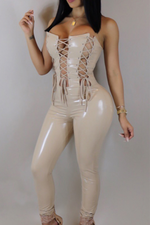 Sexy Strapless Lace-up Hollow-out Apricot Leather One-piece Jumpsuits