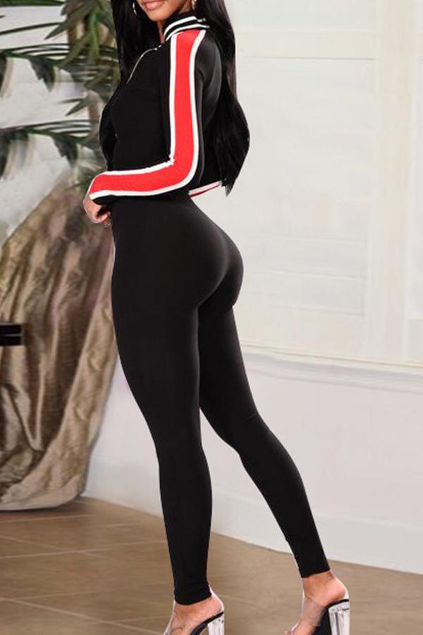 Sexy V Neck Striped Patchwork Black Cotton Blends One-piece Jumpsuits