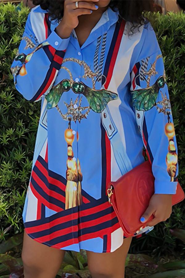 Euramerican Turndown Collar Printed Blue Polyester Mini Shirt Dress