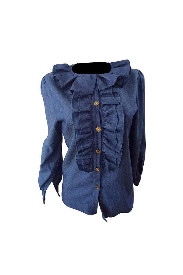Stylish Turndown Collar Lantern Sleeves Ruffle Design Blue Denim Shirts