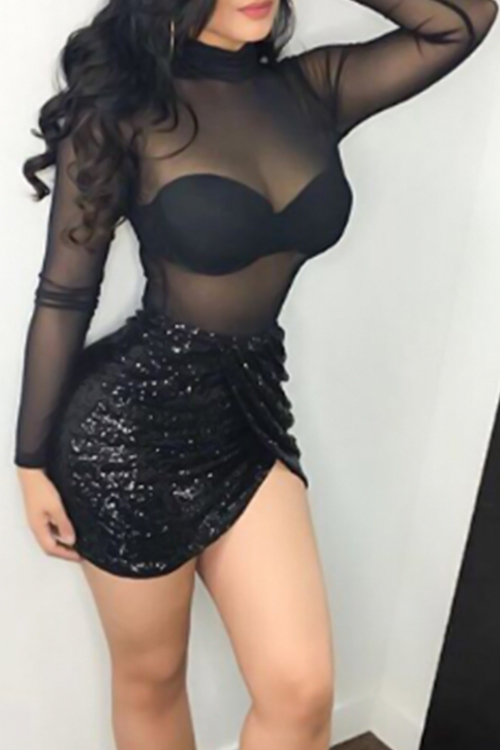 Sexy Turtleneck Sequins Decoration See-Through Black Polyester Mini Dress(Without Bra)