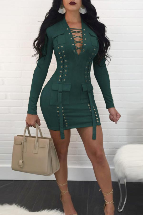 Sexy V Neck Bandage Design Dark Green Polyester Mini Dress