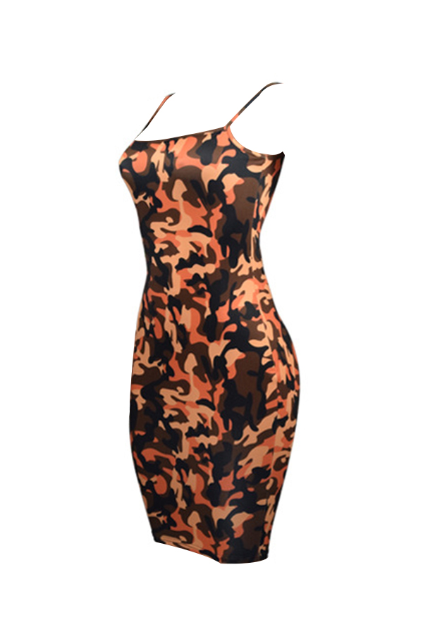 Sexy Spaghetti Strap Sleeveless Camouflage Printed Yellow Polyester Knee Length Dress