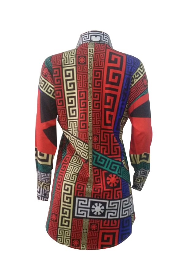 Casual Turndown Collar Printed Polyester Mini Shirt Dress