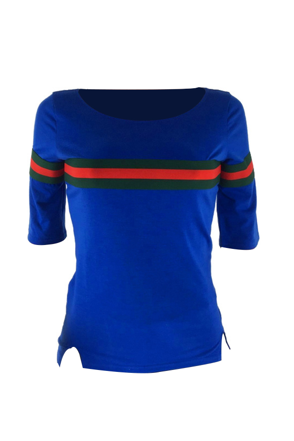 Lovelycasual Rundhalsausschnitt Gestreiftes Patchworkblaues Baumwoll-T-Shirt