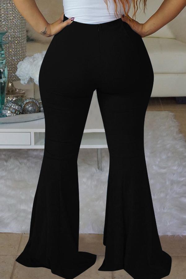 Pantalones De Cintura Elástica A Mediados De Estilo Pantalones De Campana De Poliéster Negro Decorativos