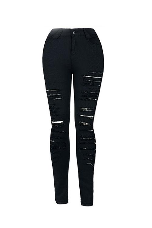 Trendy High Waist Broken Holes Denim Pants